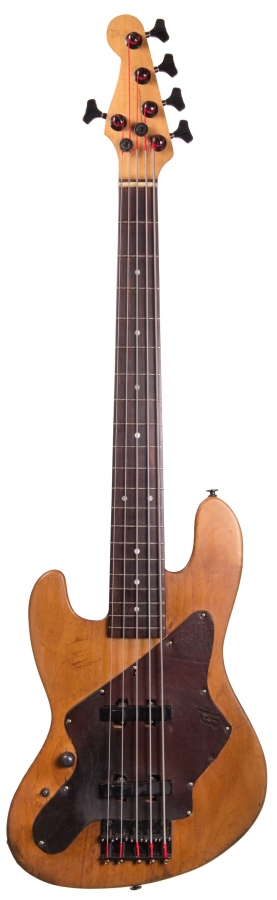 Lot Number 136. 1992 Mike Lipe The Lip left-handed five string bass guitar, inscribed 'Custom Made for Nathanial 12/31/92' to the back of the head. Auctioned at The Guitar Auction - Including the Frank Allen Collection on 12th December 2018