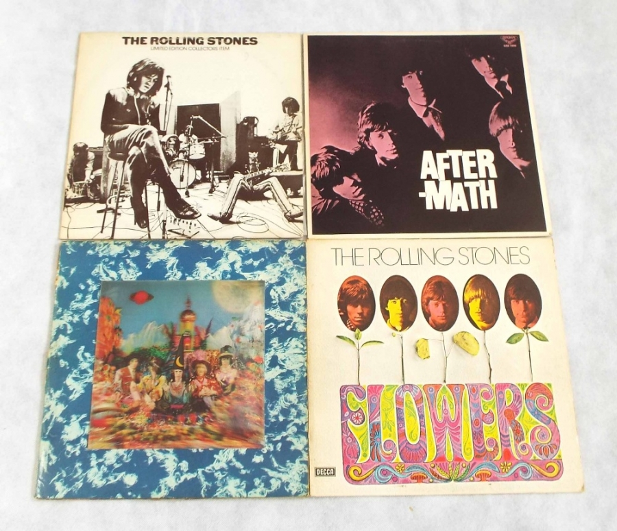 Lot Number 17. The Rolling Stones - four vinyl LP records, Satanic, 3D cover, mono VG (TXL103), RS3006 limited edition, Australia issue (EMI AUS), unplayed, Aftermath GXD 1003, stereo, King Records, Japan, EX, Flowers, German, 6-21407, BL, unplayed (4). Auctioned at The Guitar Auction - Including Music Memorabilia on 12th September 2018