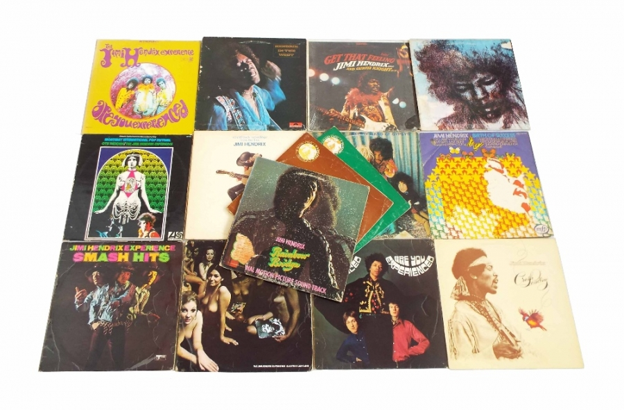 Lot Number 19. Jimi Hendrix - fifteen vinyl LP records including Electric Ladyland, G-VG, Are You Experienced, track 612001, matt, G-VG, Band of Gypsys, puppet cover etc, various conditions. Auctioned at The Guitar Auction - Including Music Memorabilia on 12th September 2018