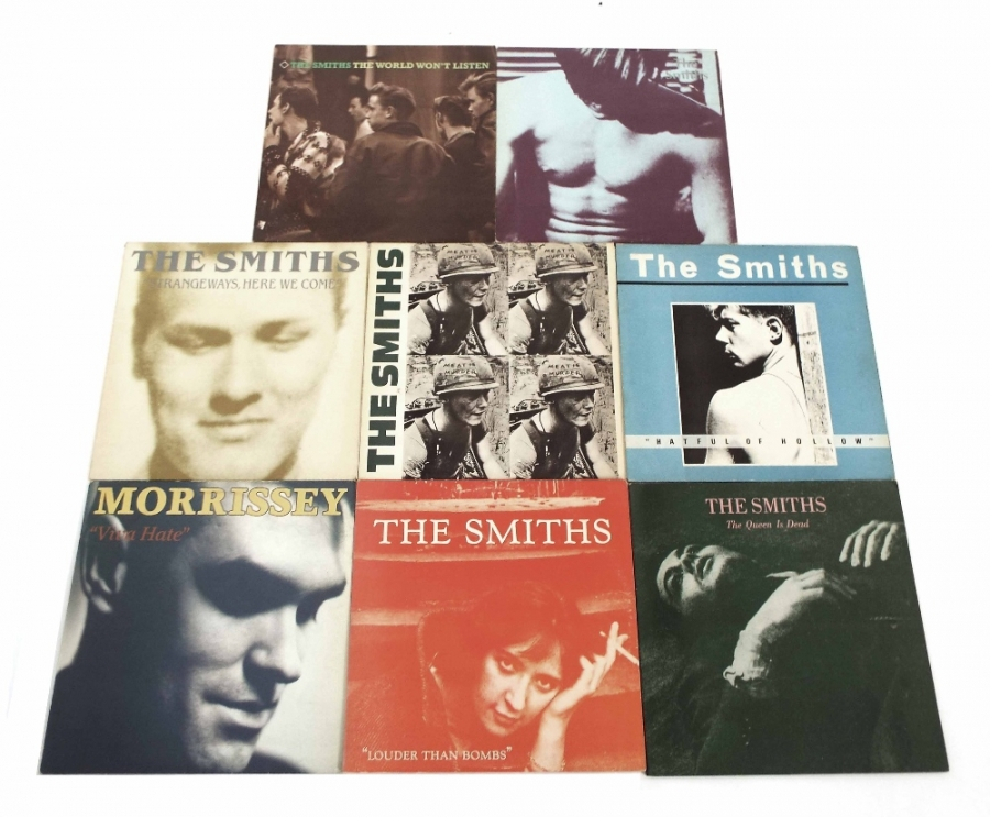 Lot Number 41. The Smiths and Morrissey - Louder G/F double, Strangeways, Smiths, R61, Smiths, R101, R76, R96. Auctioned at The Guitar Auction - Including Music Memorabilia on 12th September 2018