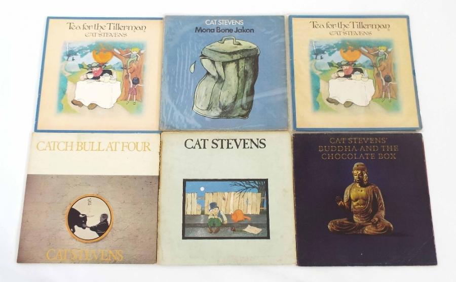 Lot Number 43. Cat Stevens - six vinyl LP records, Mona Bone Jakon, ILPS 9118 Pink ILPS 9135, Pink and four covers VG, vinyl EX. Auctioned at The Guitar Auction - Including Music Memorabilia on 12th September 2018