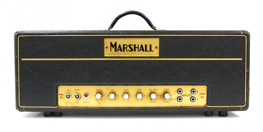 Lot Number 640. 1964 Marshall JTM 45 MK II guitar amplifier, made in England, ser. no. 1049, replaced handle, replaced knobs, in working order, personal viewing advised. Auctioned at The Guitar Auction - Including Music Memorabilia on 12th September 2018