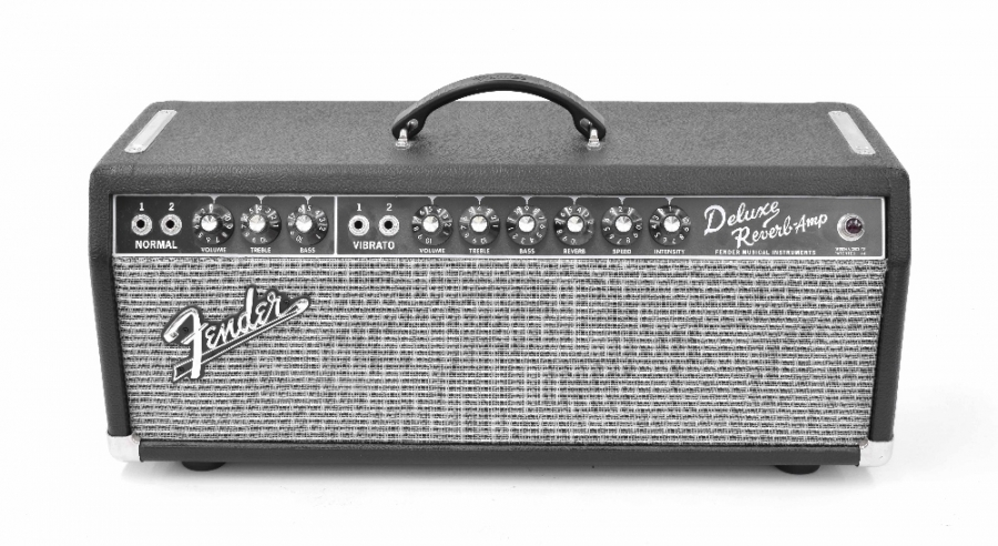 Lot Number 646. Fender Deluxe Reverb Amp guitar amplifier head, made in USA, ser. no: CR-357922, with dust cover, pedal and manual. Auctioned at The Guitar Auction - Including Music Memorabilia on 12th September 2018