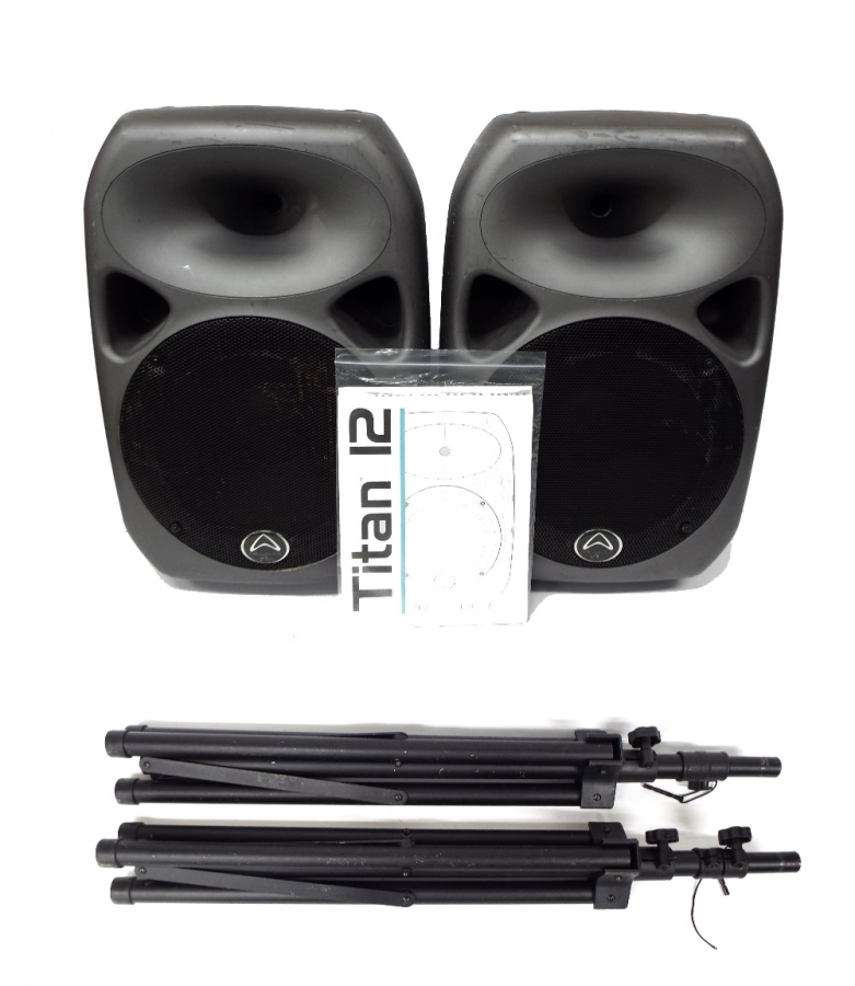 Lot Number 901. Pair of Wharfedale Pro Titan 12 PA speakers, with manual and speaker stands. Auctioned at The Guitar Auction - Including Music Memorabilia on 12th September 2018
