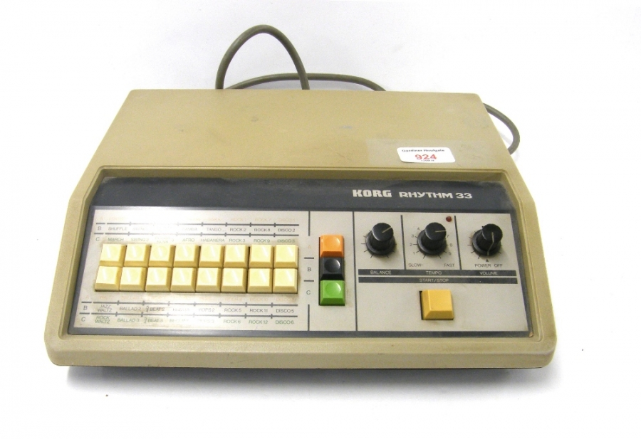 Lot Number 924. 1970s Korg Rhythm 33 drum machine, made in Japan, ser. no. 262120. Auctioned at The Guitar Auction - Including Music Memorabilia on 12th September 2018