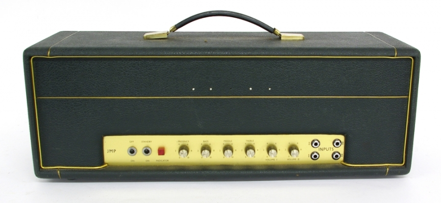 Lot Number 460. 1969 Marshall JMP Plexi 50 watt amplifier head, made in England, ser. no. S/A10119, bearing an internal inspection sticker dated 1969, missing front logo, tolex in clean condition, both front and back Plexipanels in good condition, appears to be in working order, recently serviced. Auctioned at The Guitar Auction on 14th June 2018
