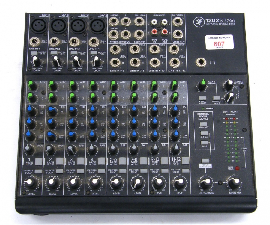 Lot Number 607. Mackie 1202 VLZ4 twelve channel compact mixing console. Auctioned at The Guitar Auction on 14th June 2018
