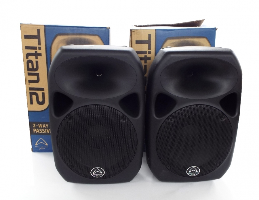 Lot Number 666. Pair of Wharfedale Pro Titan 12 PA speakers, boxed. Auctioned at The Guitar Auction on 14th June 2018