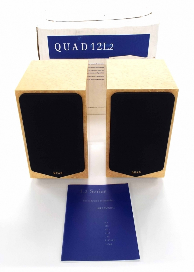Lot Number 685. Pair of Quad 12L2 Electrodynamic Hi-Fi studio speakers, boxed. Auctioned at The Guitar Auction on 14th June 2018
