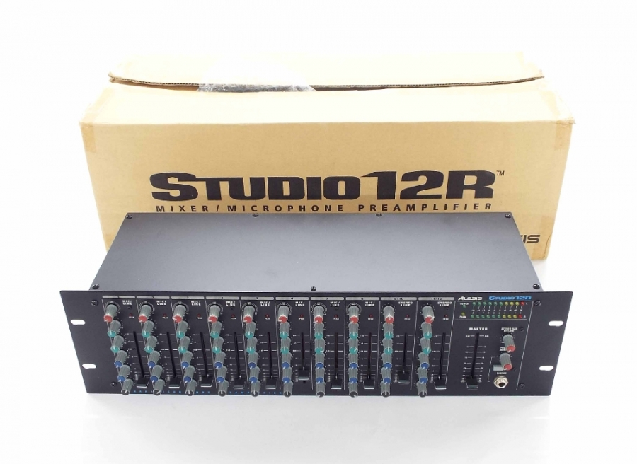 Lot Number 688. Alesis Studio 12R Mixer/Microphone Pre-amplifier rack unit, boxed. Auctioned at The Guitar Auction on 14th June 2018