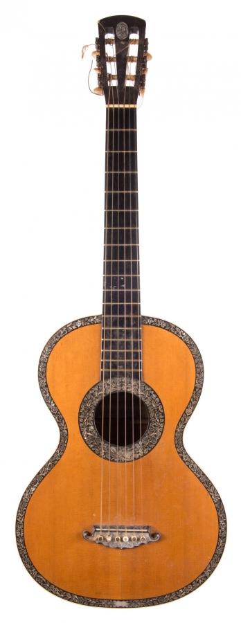 Lot Number 644. Good 19th century French small bodied guitar, possibly by Boulangier, labelled Madame R. Sidney Pratten, 38 Welbeck Street, Cavendish Square, London, 1863. Auctioned at The Guitar Auction on 8th March 2018