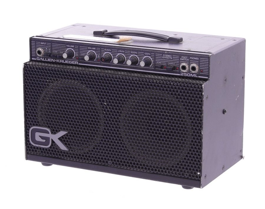 Lot Number 123. *Gary Moore - Gallien-Krueger Series II 250ML guitar amplifier, made in USA, ser. no. 48966 (110 volts only) *Used on tour as a backstage warm up amp. One of three 250ML combos, this one being the newer one. Illustrated with Gary at Hookend Studios, Reading in 1988 **This lot is subject to VAT of 20% on the hammer price  ?100-200. Auctioned at The Guitar Auction - Including The Gary Moore Collection on 11th December 2019