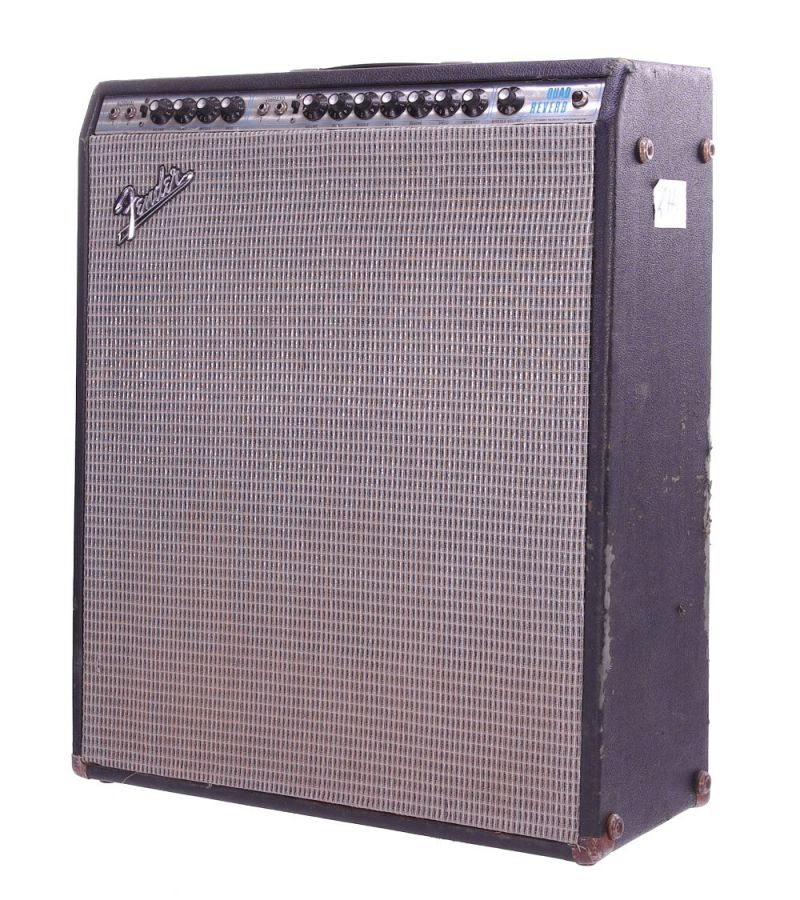 Lot Number 131. *Gary Moore - 1973 Fender Quad Reverb guitar amplifier, made in USA, ser. no. A53645 *One of Gary's odd collection of Fender combo's of all shapes and sizes. Does not appear on any recordings, but used in some rehearsals in 2007 **This lot is subject to VAT of 20% on the hammer price  ?400-800. Auctioned at The Guitar Auction - Including The Gary Moore Collection on 11th December 2019