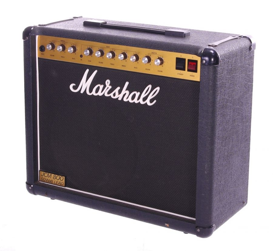 Lot Number 143. Gary Moore - 1984 Marshall model 4210 JCM 800 50w Lead guitar amplifier, made in England, ser. no. S17007 (in need of servicing - amplifier powers up but immediately blows mains fuse) *Stage used for a one off show in 2003 at Ronnie Scotts. Benefiting the Teen Cancer Charity, Gary took to the stage with an all star band: https://www.youtube.com/watchv=qss1ShjDnVY&list=RDqss1ShjDnVY&start_radio=1&t=187. Purchased from Guitar, Amp & Keyboard Centre, 9th October 2003. See copy receipt **This lot is subject to VAT of 20% on the hammer price  ?300-600. Auctioned at The Guitar Auction - Including The Gary Moore Collection on 11th December 2019