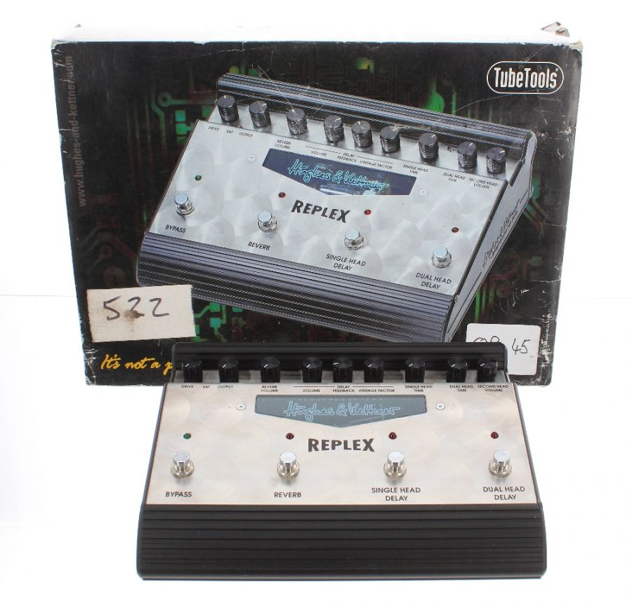 Lot Number 172. *Gary Moore - Hughes & Kettner Replex Tape Delay Simulator guitar pedal, made in Germany, ser. no. 301184, boxed *Part of Gary's extensive collection of stage or studio used pedals. Gary was always keen to check out the latest pedal, and would be spotted in music stores across Europe seeking out the latest gadget to add to his collection **This lot is subject to VAT of 20% on the hammer price  ?150-250. Auctioned at The Guitar Auction - Including The Gary Moore Collection on 11th December 2019