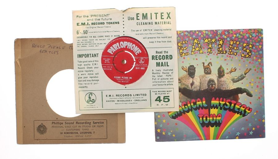 Lot Number 518. The Beatles - Please Please Me 45rpm single, Parlophone red label first release within a Philips Sound Recording Service cardboard sleeve. Auctioned at Guitar Amps, Effects & Memorabilia on 12th December 2019