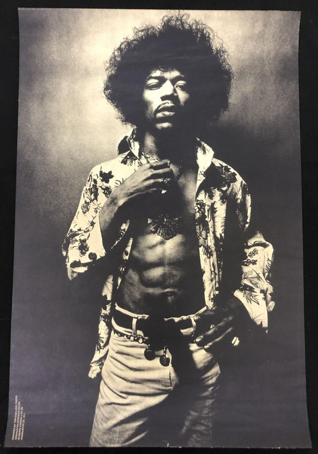 Lot Number 530. Jimi Hendrix - late 1960s TSR poster depicting a three-quarter length portrait of Hendrix, photographed by Donald Silverstein, 29