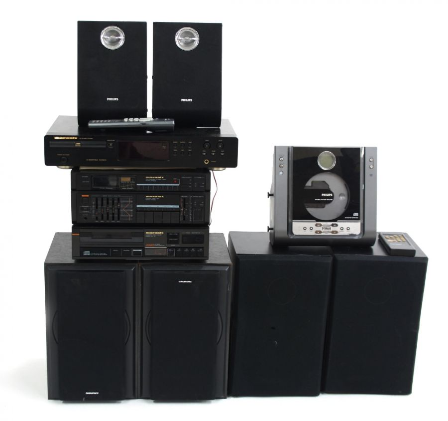 Lot Number 955. Hifi equipment including a Marantz CD-45 compact disc player, a Marantz CD4000 CD player, a Marantz PM263 stereo tuner, two Marantz speakers, two Grundig speakers and a Philips MC235B/05 hifi system. Auctioned at Guitar Amps, Effects & Memorabilia on 12th December 2019